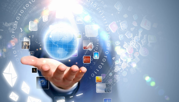 Image of globe on palm of businessman. Media technologies